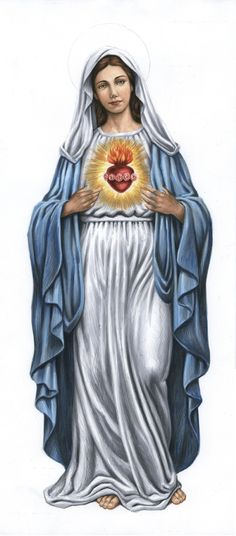 Sacred heart of Mary (Nicholas Mikesell) Religious Pictures, Jesus Pictures, Religious Icons, Religious Art, Blessed Mother Mary, Blessed Virgin Mary, Jesus E Maria, Christian Artwork, Queen Of Heaven