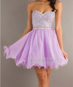 Custommade Strapless Short Lilac Prom Dresses by WeddingBless, $98.00