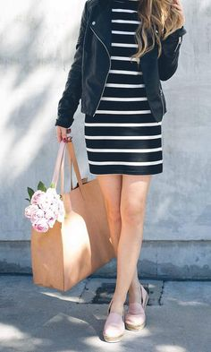 black & white stripes + black leather jacket + lilac shoes + camel shopper tote