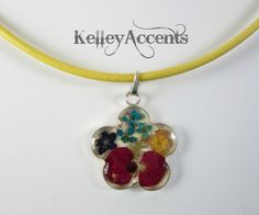 Flower Resin Necklace by KelleyAccents on Etsy, $21.00