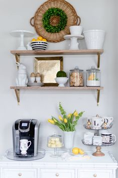 Coffee bar decor inspiration | DIY Coffee Station in the kitchen | thehomeicreate.com