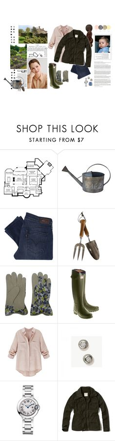 """""""Untitled #2714"""" by duchessq ❤ liked on Polyvore featuring PAM, White x White, Levi's, The Thoughtful Gardener, Threshold, Hunter, Cartier and Abercrombie & Fitch"""