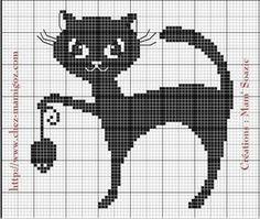 ( Grille gratuite ) Vous avez aimé le premier Chat Noir voici une autre grille…                                                                                                                                                                                 Plus Cross Stitch Cards, Cross Stitch Animals, Cross Stitching, Blackwork Embroidery, Cross Stitch Embroidery, Cross Stitch Patterns, Hexagon Quilt Pattern, Crochet Cat Pattern, Cross Stitch Gallery