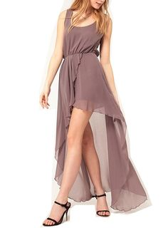Wiipu Women's love chiffon dress with asymetric style(WP-J59), Gray >>> Tried it! Love it! Click the image. : formal dresses