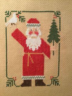 completed cross stitch Prairie Schooler Christmas Santa 1986