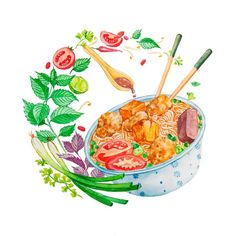 Wall Drawing, Food Drawing, Food Illustrations, Illustration Art, Art Sketches, Art Drawings, Vietnamese Street Food, Coloured Pencils, Anime Sketch