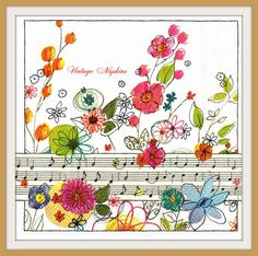 SALE *** 2 PAPER NAPKINS for Decoupage - Aquarelle Flowers with Music Notes #176 by VintageNapkins on Etsy