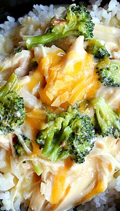 Crockpot Creamy Chicken, Broccoli and Cheddar Cheese over Rice ~ An easy recipe. Hearty, comforting and delicious! Crockpot Dishes, Crock Pot Slow Cooker, Crock Pot Cooking, Crockpot Recipes, Healthy Recipes, Cooker Recipes, Crock Pots, Easy Recipes, Healthy Food