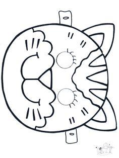 Kindergarten Art Activities, Animal Activities, Preschool Art, Animal Crafts, Cat Coloring Page, Coloring Pages, Mask Cat, Theme Carnaval, Mascaras Halloween