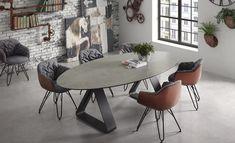 Eiken tafel en stoelen in fluweel, uit de collectie van Top ...