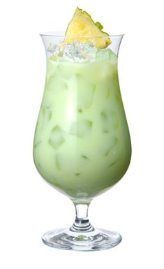 Green eyes: 1 oz Midori, 1 oz Malibu Rum, 1/2 oz Cream of coconut, 1/2 oz Lime Juice, and 1 & 1/2oz Pineapple Juice