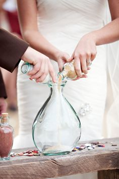 Expert Advice: 5 Tips for a Fun & Flawless Beach Wedding: Candlelit ceremonies are often hard to pull off outdoors. So, consider a sand ceremony, instead: choose two different colored sands, each representing the bride or the groom, and combine them toget Wedding Ceremony, Our Wedding, Dream Wedding, Wedding Beach, Wedding Vintage, Unity Sand, Civil Wedding, Wedding Planner, Marie