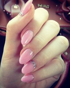 Pink nails with a touch of diamonds...