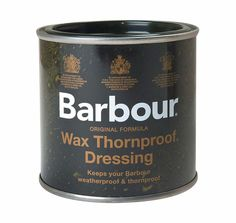 Tin of Barbour Thornproof dressing. A must-have for maintaining Barbour jackets, this original-formula Thornproof dressing restores weatherproof functionality. Easy to apply, it can be used to strengthen areas that get the most wear, or to re-dress a whole jacket. With regular re-waxing your jacket will last for a very long time and often becomes part of the family, passed down from generation to generation.