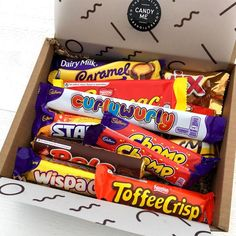 A Selection box of 12 British caramel chocolate bars packaged ready for shipping worldwide