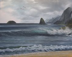 "Wings Over Okala, oil on canvas  20"" x 16"" Okala and Mokapu islands off of the north coast of Molokai, Hawai'i, near Kalaupapa"