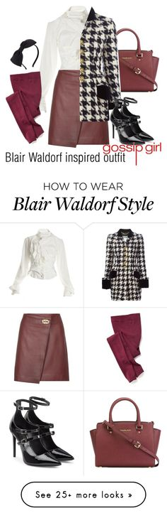"""Blair Waldorf inspired outfit/GG"" by tvdsarahmichele on Polyvore featuring Vivienne Westwood, Old Navy, Reiss, MICHAEL Michael Kors, Moschino, Tamara Mellon and Kate Spade"