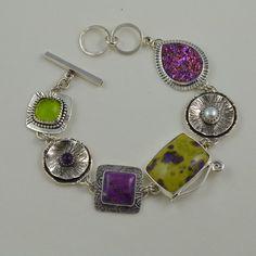Purple Stone Bracelet - Designer Statement Bracelet - Artisan Metalsmith Jewelry