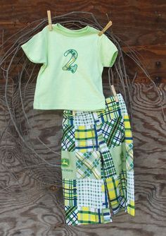 Baby Boys Clothing John Deere Green Pants and Birthday number T shirt, 12, 18 months 2T, 3T, 4T , green, plaid