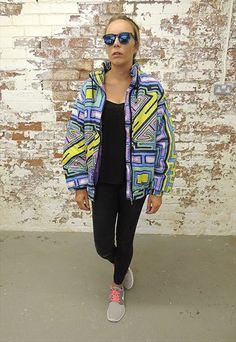 Vintage 80's Crazy print padded Nylon Jacket