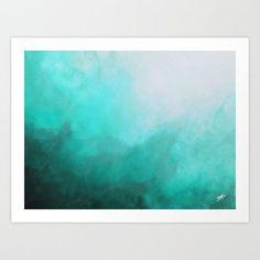 Teal Abstract Watercolor Ocean Inspired Giclee by SABartStudio #teal Aqua Art | Turquoise Decor