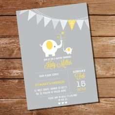 First Communion / Baptism / Christening Invitation for Girls or Boys - Gray and Yellow Elephant - In Baptism Invitation For Boys, Christening Invitations Girl, First Communion Invitations, Baby Baptism, Baby Invitations, Christening Gifts, Baptism Ideas, Ideas Bautismo, Invitation Fete