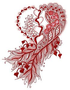 Feathered heart machine embroidery design #redflower #decoration #Love #heart #ValentinesDay #feather #blossom #pigtail #peacock #embroideres