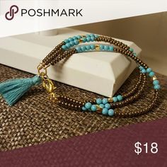 Handcraf Bracelets 3 Layers and Tassel Turquoise and Gold Beds 18k Gold Plated Jewelry Bracelets