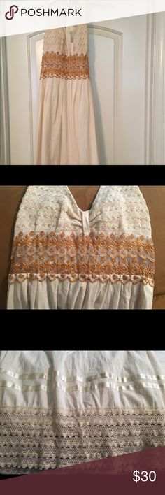 Mexican import women dress Mexican beige and gold dress Dresses Backless