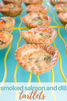 These smoked salmon and dill tartlets are just as perfect as finger food for a party as they are for the lunchbox. Simple to make and extra yummy! Tart Recipes, Salmon Recipes, Seafood Recipes, Appetizer Recipes, Fish Recipes, Dessert Recipes, Savory Snacks, Healthy Snacks, Healthy Recipes