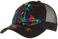b19be42012b Guy Harvey Hibiscus Marlin Ladies Trucker Hat in White