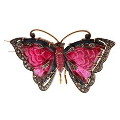 A Rubellite Diamond Butterfly Brooch | From a unique collection of vintage brooches at http://www.1stdibs.com/jewelry/brooches/brooches/