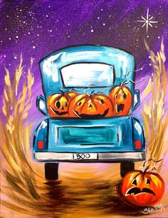 Halloween How To Paint A Vintage Jack-o-lantern Pumpkin Truck. Learn how to paint this absolutely adorable rustic 1948 Farm pickup vintage truck filled with funny Jack-o lanterns Beginners can learn… Fall Canvas Painting, Autumn Painting, Diy Painting, Canvas Art, Canvas Paintings, Watercolor Paintings, Halloween Canvas, Halloween Painting, Halloween Art