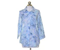 Coldwater Creek Blue Floral Sheer Flowy Button Down 3/4 Sleeve Blouse Size L 14 #ColdwaterCreek #Blouse #Casual