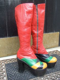 1970s Incredible Glam Rock Women's Leather Boots Made in Italy by worldmarketproductio on Etsy, $475.00