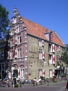 Old historical building in the city centre of Harlingen, Friesland, Holland