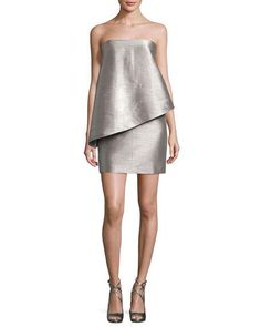 Strapless Lamé Cocktail Dress, Graphite