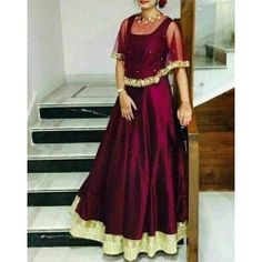 Taffeta Silk Self Design Stitched Cape Gown Lehenga Designs, Kurta Designs, Kurti Designs Party Wear, Cape Gown, Long Gown Dress, Lehnga Dress, Dress Prom, Wedding Dress, Wedding Wear