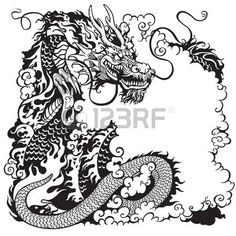 chinese dragon, black and white tattoo illustration