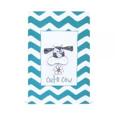 Cute Cow Handmade Brooch and Greeting Card