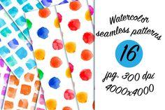 Watercolor pattern set by katya.bogina on Creative Market