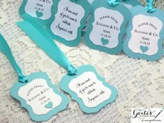 Tiffany Theme Party Favor Tags - Breakfast at Tiffany Tags -Tiffany & Co. Double Sided Tags - Tiffany Bridal Shower Tags on Etsy, $3.25