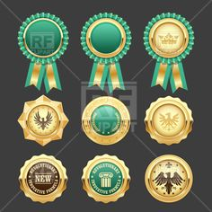 Green award rosettes and gold medals - prize insignia, 176443, download royalty-free vector clipart (EPS) Free Vector Clipart, Clipart Design, Vector Graphics, S Logo Design, Line Design, Rosettes, Vectors, Awards, Royalty