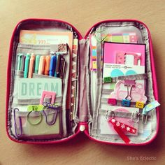 She& eclectic: national stationery week - pencil case day. School Stationery, Cute Stationery, Stationary, Pencil Bags, Pencil Pouch, Planner Organization, School Organization, Diy Pencil Case, School Suplies