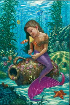 Fantasy Diamond Painting Kits that include Fairies and Dragons and all things fantasy. Fantasy Creatures, Mythical Creatures, Sea Creatures, Fantasy Mermaids, Mermaids And Mermen, Real Mermaids, Fantasy Kunst, Fantasy Art, Mermaid Pictures