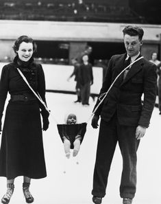 "Baby Carrier  ""Jack Milford, player with the Wembley Monarchs ice hockey team, has invented a carrying device so that his baby can join his wife and himself on the ice.""    Ice skating is more important to this man than the safety of his child."