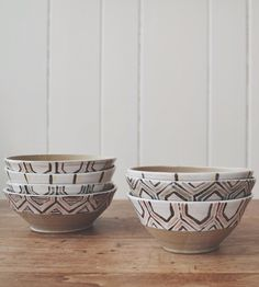 Rustic Geometry Ceramic Bowl- like the neutral colors