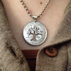 tree necklace by Coin Cut Art