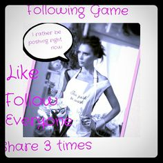 Hey guys new following game!!!! Ladies please help my reach 10k followers! Let's playing the following game and help each other expand our posh closets!  Like  Don't forget to follow everyone that liked the post And SHARE SHARE SHARE!!!! ???????????????????????????????????????? Dresses