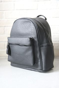 Textured Leather-Look Backpack - Black